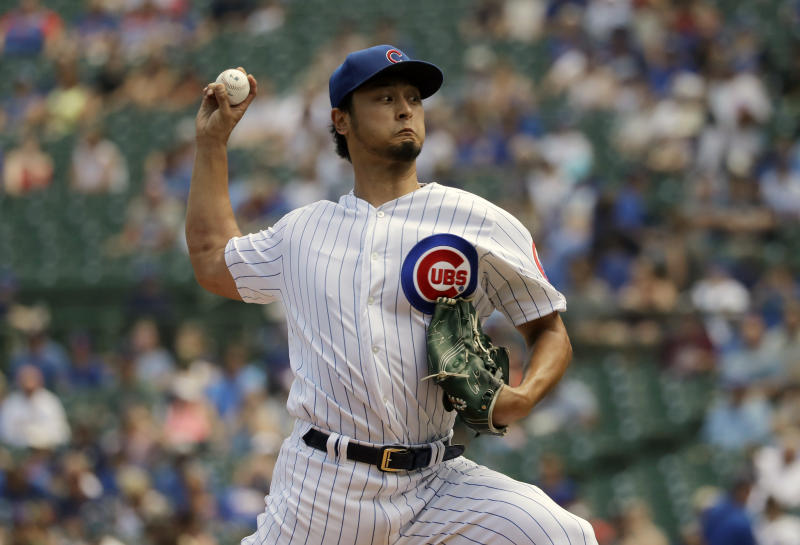 Cubs $126 million pitcher Yu Darvish earns first Wrigley Field win 523 days after signing contract. (AP Photo/Nam Y. Huh)