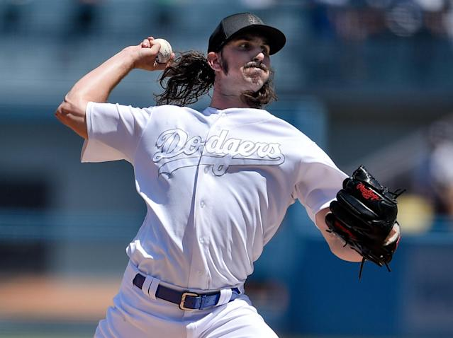 Los Angeles Dodgers starting pitcher Tony Gonsolin delivers during the first inning of a baseball game against the New York Yankees in Los Angeles, Saturday, Aug. 24, 2019. (AP Photo/Kelvin Kuo)