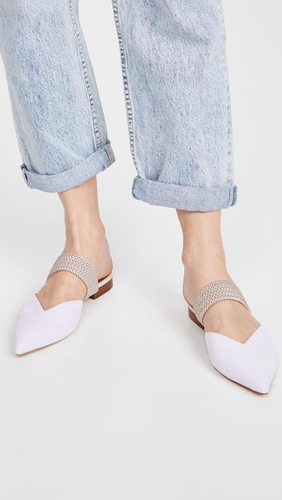 <p>You can style these fun <span>Malone Souliers Maisie Flats</span> ($575) so many ways.</p>