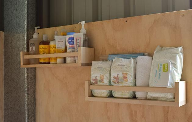 Repurposed spice rack shelves. Photo: Supplied