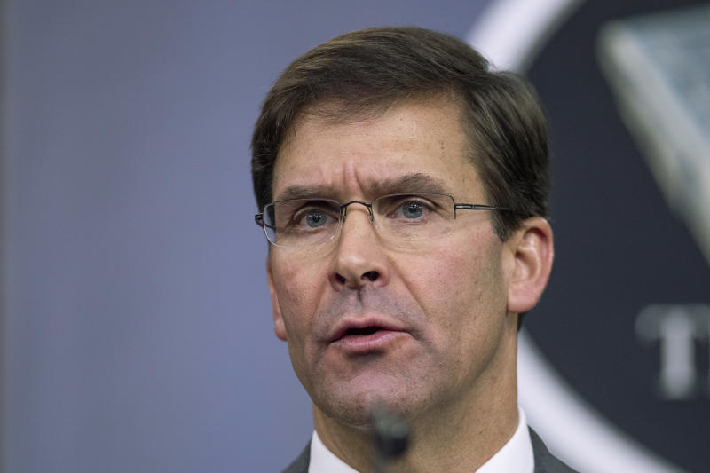 """FILE - In this Aug. 28, 2019, file photo, Secretary of Defense Mark Esper speaks to reporters during a briefing at the Pentagon. Esper says the """"impulsive"""" decision by Turkey to invade northern Syria will further destabilize a region already caught up in civil war. Esper says the invasion puts America's Syrian Kurdish partners """"in harm's way,"""" but insists the Kurds are not being abandoned. (AP Photo/Manuel Balce Ceneta, File)"""