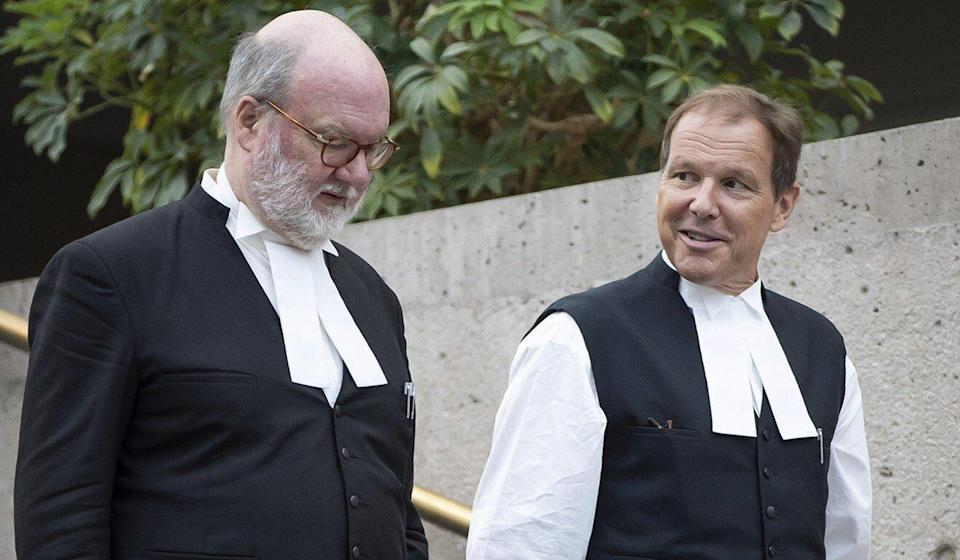 Meng Wanzhou's lawyers, Mark Sandler (left) and Scott Fenton, are seen outside the Supreme Court of British Columbia on Tuesday. Photo: AP
