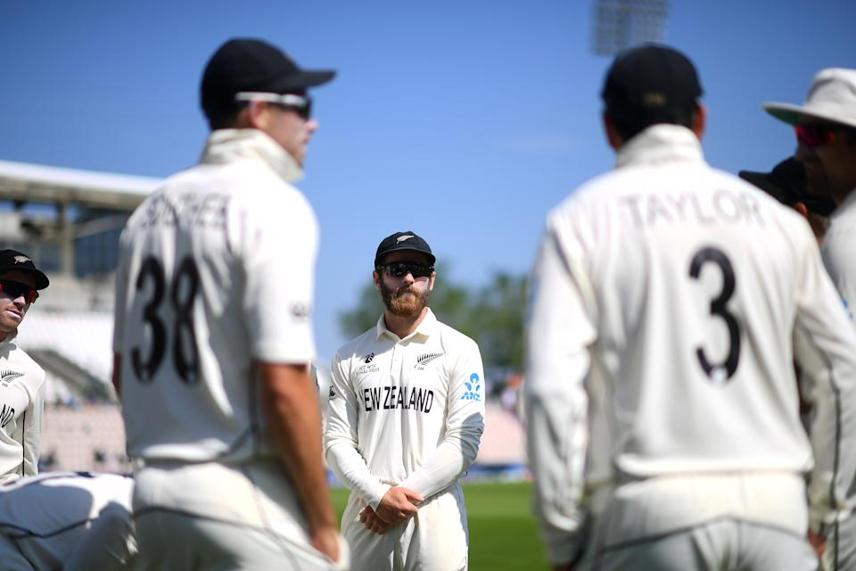 SOUTHAMPTON, ENGLAND - JUNE 23: Kane Williamson of New Zealand looks on prior to the Reserve Day of the ICC World Test Championship Final between India and New Zealand at The Hampshire Bowl on June 23, 2021 in Southampton, England. (Photo by Alex Davidson/Getty Images)
