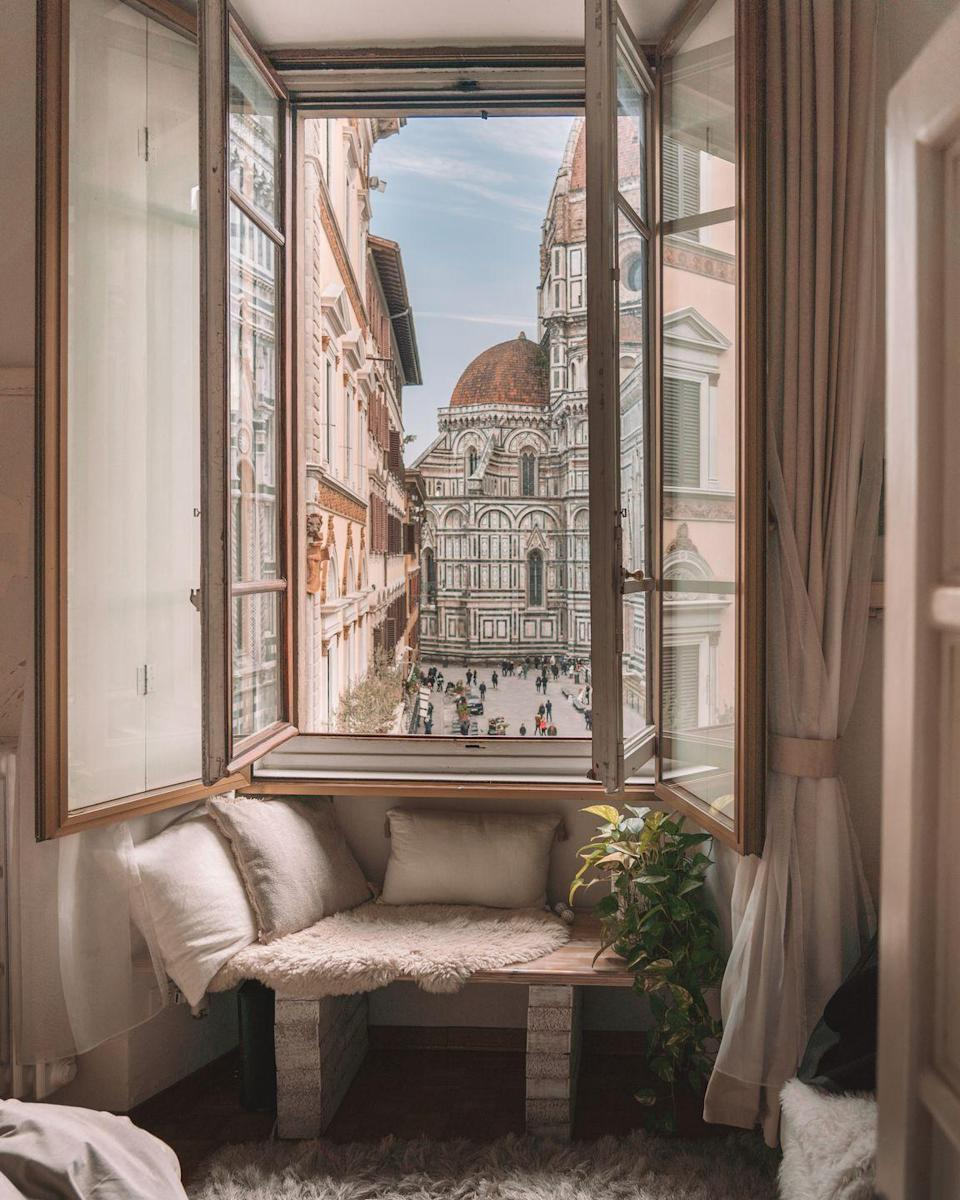 """<p>Taking the eighth spot is this window shot, which was taken in Florence, Italy. The iconic Florence Cathedral can be seen just above the gorgeous window seat. It's at the top of our travel wish list...</p><p><a class=""""link rapid-noclick-resp"""" href=""""https://go.redirectingat.com?id=127X1599956&url=https%3A%2F%2Fwww.airbnb.co.uk%2Frooms%2F18076324&sref=https%3A%2F%2Fwww.housebeautiful.com%2Fuk%2Flifestyle%2Fproperty%2Fg35381593%2Fairbnb-most-liked-homes%2F"""" rel=""""nofollow noopener"""" target=""""_blank"""" data-ylk=""""slk:MORE INFO"""">MORE INFO</a></p>"""