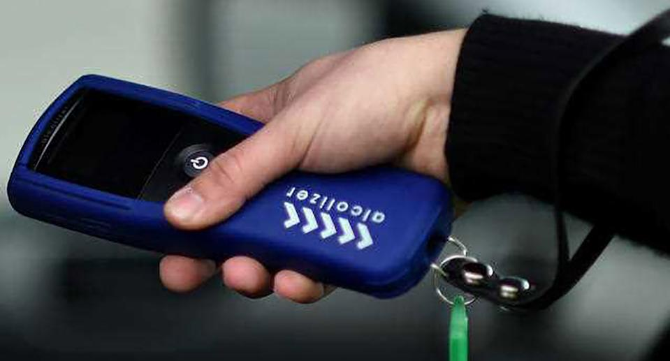 A random breath test is done at the AFP Training Facility in Canberra.