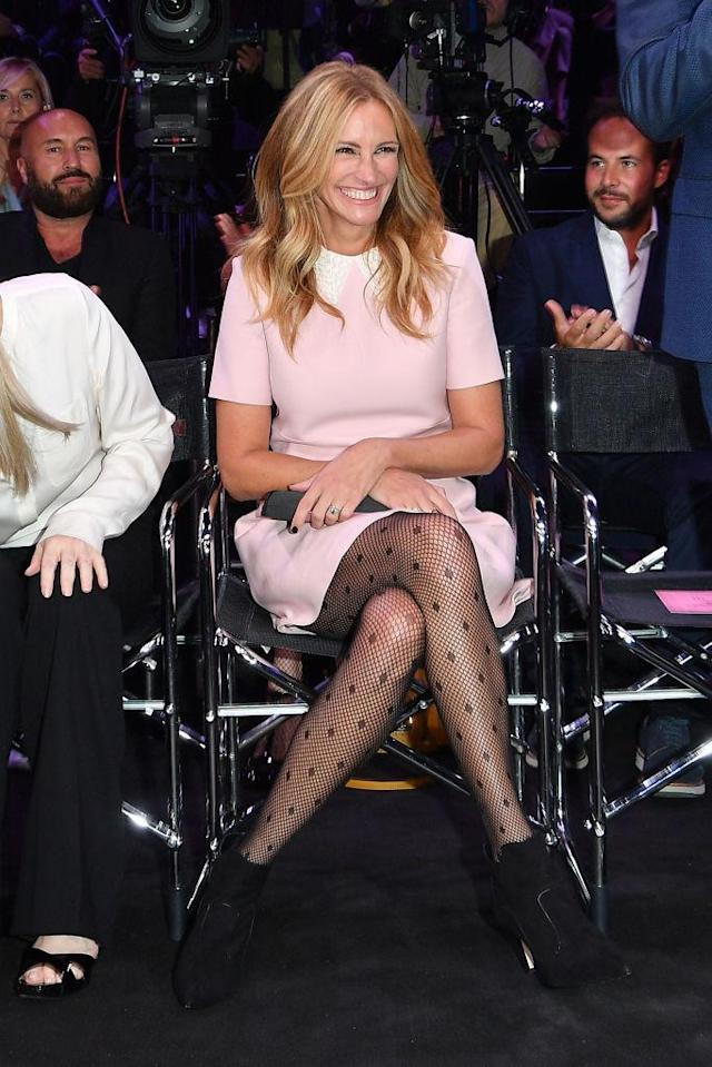 Julia Roberts, a spokesperson for Calzedonia hosiery, rocks spotted tights at a fashion show. (Photo: Venturelli/Getty Images)