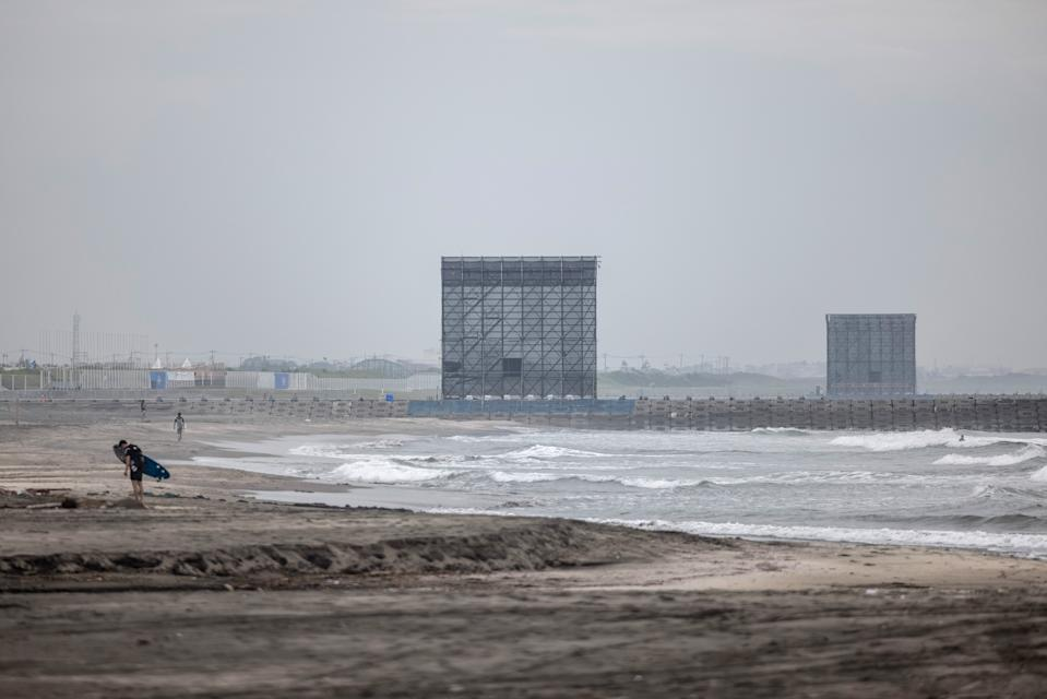 ICHINOMIYA, JAPAN - JULY 06: Press tribunes loom over Tsurigasaki Beach, the Tokyo Olympics surfing venue, on July 6, 2021 in Ichinomiya, Japan. Surfing is making its debut at the Tokyo 2020 Olympics and will take place on Japans Pacific coast. (Photo by Carl Court/Getty Images)
