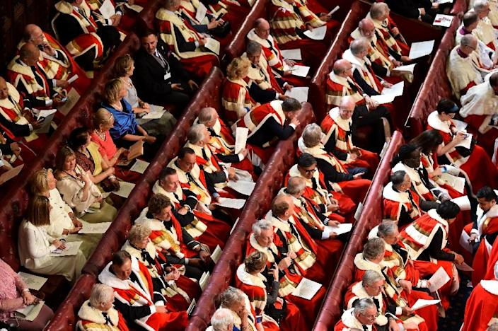 Peers and guests sit in the House of the Lords for the Queen's Speech on May 27, 2015 (AFP Photo/Ben Stansall)