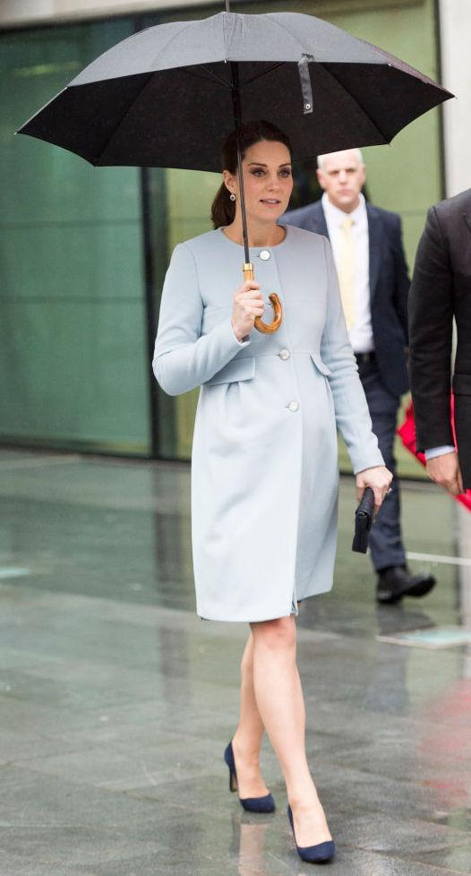 <p>On 24th January, the Duchess of Cambridge visited King's College London and donned all-blue for the a second royal engagement running. Kate recycled a powder blue Seraphine coat for the occasion with a floral dress by the same brand (which she has worn three times in total). <br>She acccesorised the look with co-ordinating suede shoes and a quilted clutch. <em>[Photo: Getty]</em> </p>
