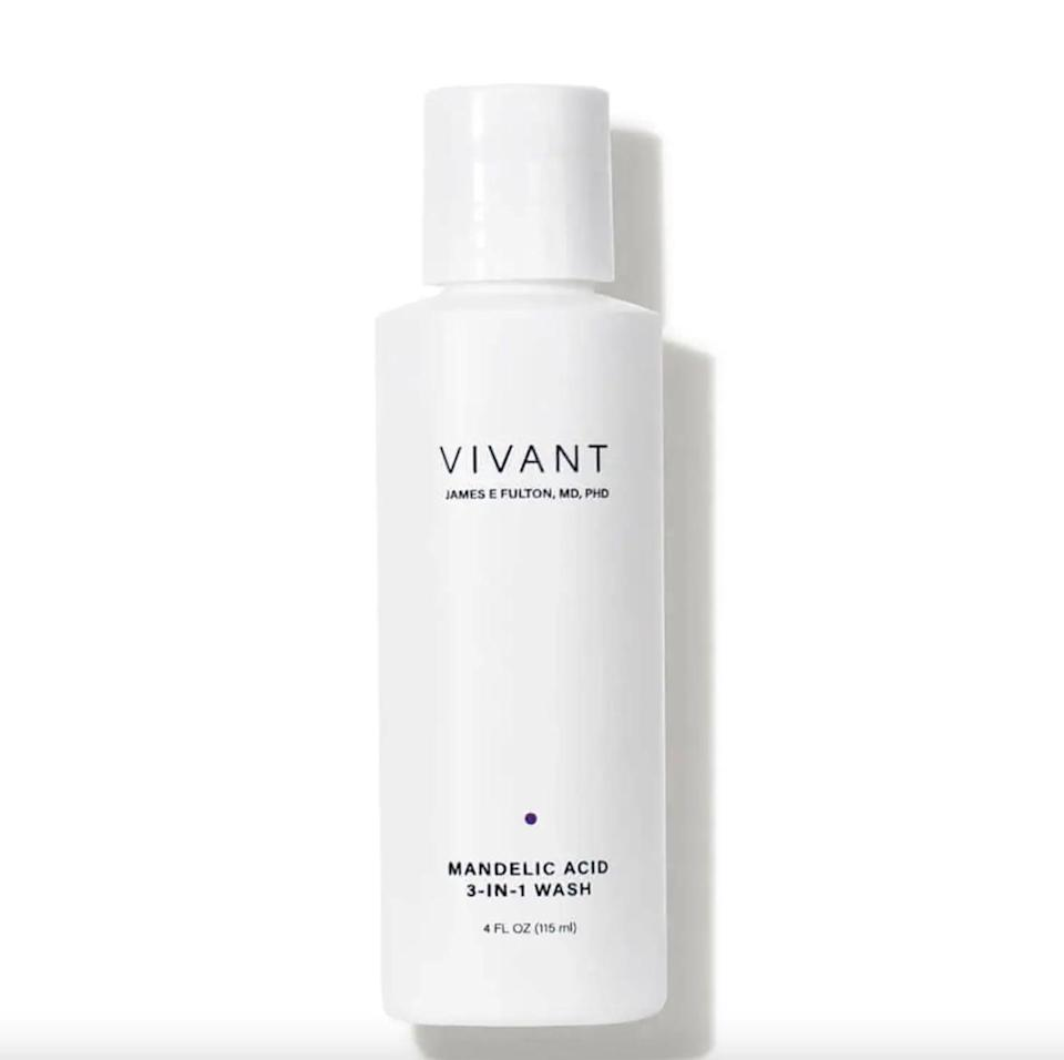 """<p>Not only do we swear by the <span>Vivant Skincare Mandelic Acid 3-in-1 Exfoliating Cleanser</span> ($22) for our <a href=""""https://www.popsugar.com/beauty/Keratosis-Pilaris-Treatment-35949420"""" class=""""link rapid-noclick-resp"""" rel=""""nofollow noopener"""" target=""""_blank"""" data-ylk=""""slk:keratosis pilaris"""">keratosis pilaris</a>, but it's also an effective remedy for bacne and butt blemishes. Just be warned: the formula is <em>strong</em> and may irritate your skin upon first use.</p>"""
