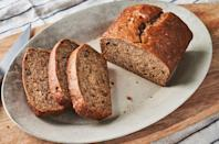 "<p>This vegan <a href=""https://www.delish.com/uk/cooking/recipes/a28826174/best-banana-bread-recipe/"" rel=""nofollow noopener"" target=""_blank"" data-ylk=""slk:banana bread"" class=""link rapid-noclick-resp"">banana bread</a> is big on banana flavour, super moist, and just sweet enough. If you're looking to add some substance, coconut flakes, toasted chopped nuts, and dried cherries are some of our favourite mix-ins. </p><p>Get the <a href=""https://www.delish.com/uk/cooking/recipes/a34726239/vegan-banana-bread-recipe/"" rel=""nofollow noopener"" target=""_blank"" data-ylk=""slk:Vegan Banana Bread"" class=""link rapid-noclick-resp"">Vegan Banana Bread</a> recipe.</p>"