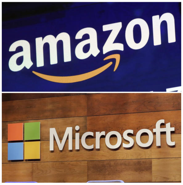 """FILE - This combination of file photos shows the logos for Amazon, top, and Microsoft. . Amazon is protesting the Pentagon's decision to award a huge cloud-computing contract to Microsoft, citing """"unmistakable bias"""" in the decision. Amazon's competitive bid for the """"war cloud"""" drew criticism from President Donald Trump and its business rivals. (AP Photo/Richard Drew and Ted S. Warren, File)"""