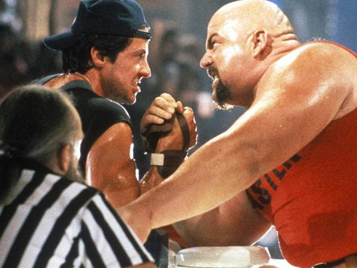 (L-R) Sylvester Stallone and Rick Zumwalt in 'Over the Top.""
