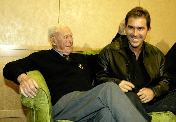 SYDNEY - JULY 11:  Former Australia test cricketer Bill Brown jokes with current player Justin Langer during the Test Cricketers Cap Presentation Reunion media call at the Marriott Hotel July 11, 2003 in Sydney, Australia. (Photo by Nick Laham/Getty Images)
