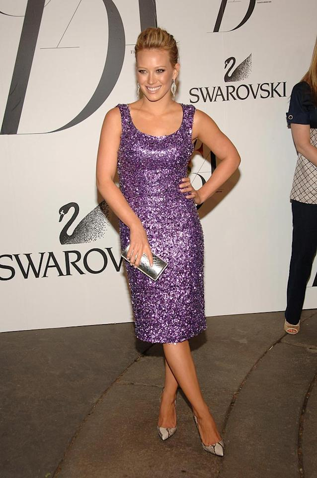 "Hilary Duff sparkled in a purple sheath, which she paired with sexy snakeskin pumps. Jamie McCarthy/<a href=""http://www.wireimage.com"" target=""new"">WireImage.com</a> - June 2, 2008"