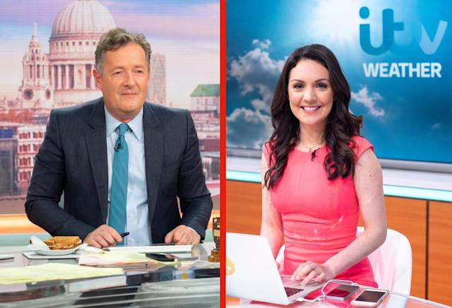 Piers Morgan commented on GMB weather presenter Laura Tobin's trousers (ITV)