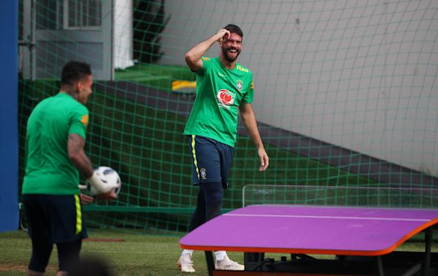 Soccer Football - World Cup - Brazil Training - Brazil Training Camp, Sochi, Russia - June 19, 2018 Brazil's Alisson during training REUTERS/Hannah McKay
