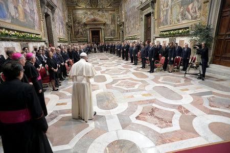 Pope Francis speaks during a meeting with EU leaders at the Vatican March 24, 2017.  REUTERS/Osservatore Romano/Handout