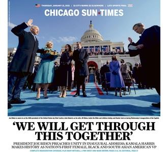 January 21, 2021 front page of the Chicago Sun Times