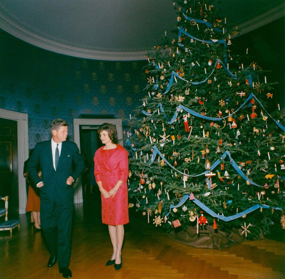 <p>In the Blue Room (before Jackie began her renovations to the White House), a Nutcracker-themed Christmas tree kicked off the tradition of formally decorating for the holidays. </p>