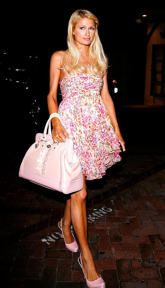 "From her dress to her bag to her shoes, Paris Hilton once again proves that pink is her signature shade. Jean Baptiste Lacroix/<a href=""http://www.wireimage.com"" target=""new"">WireImage.com</a> - August 23, 2008"