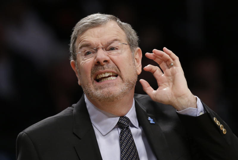 FILE - In an April 22, 2013, file photo Brooklyn Nets interim head coach P.J. Carlesimo reacts in the second half of Game 2 of a first-round NBA basketball playoff series against the Chicago Bulls in New York.  Brooklyn Nets general manager Billy King says P.J. Carlesimo will not return as coach.   (AP Photo/Kathy Willens)