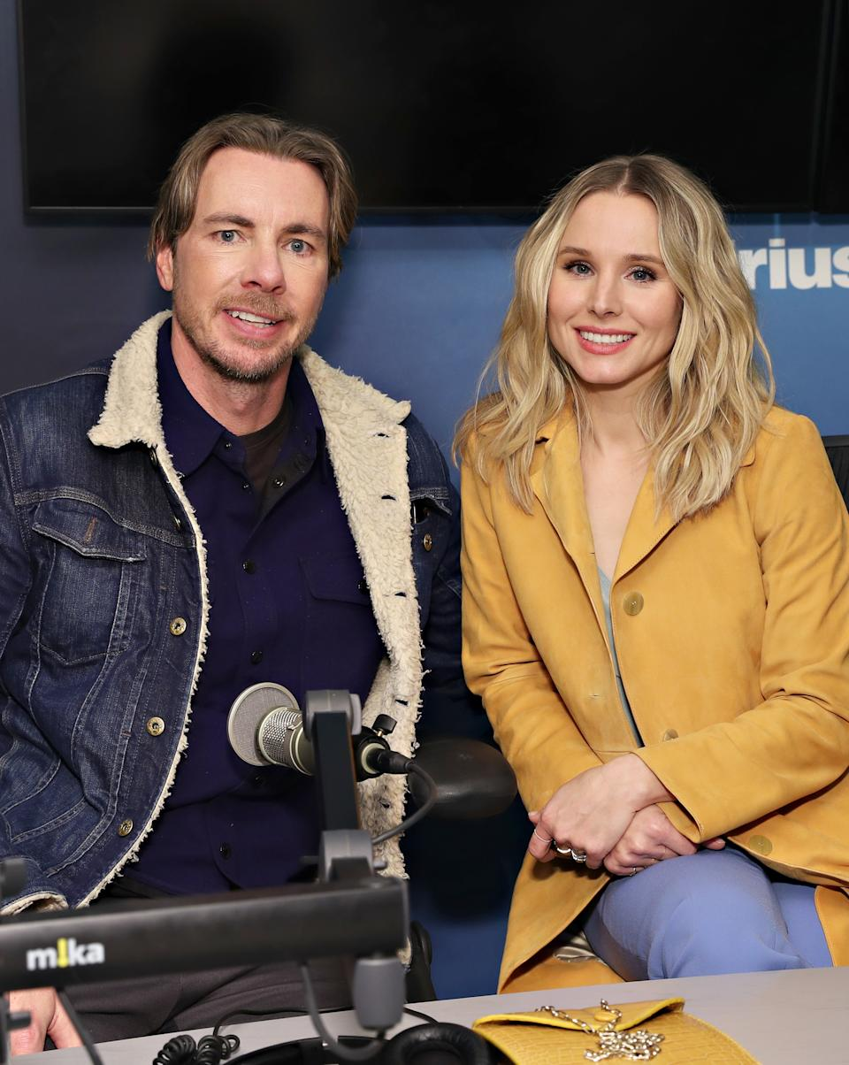 Dax Shepard and Kristen Bell visit the SiriusXM Studios on February 25, 2019 in New York City.  (Photo by Cindy Ord/Getty Images)