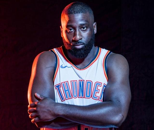 """<p>Cameraman: """"Wait, did they pull you in here from that pickup game outside?""""<br>Raymond Felton: """"No, I really do still play for the Thunder.""""<br>(Getty Images) </p>"""