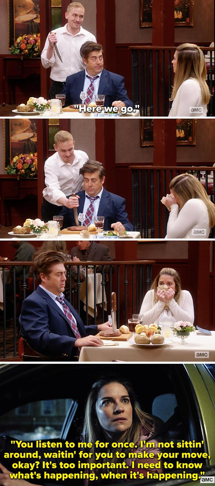 Nick sticking a knife if Kevin's steak and Allison screaming