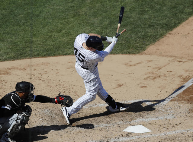 New York Yankees pinch hitter Luke Voit (45) hits an RBI single during the seventh inning of a baseball game against the Chicago White Sox, Saturday, April 13, 2019, in New York. (AP Photo/Kathy Willens)