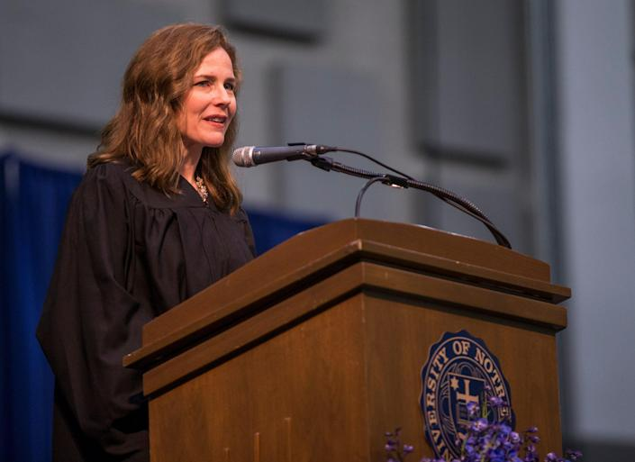 Amy Coney Barrett speaks to graduates during the University of Notre Dame's Law School commencement ceremony on Saturday, May 19, 2018, in South Bend.
