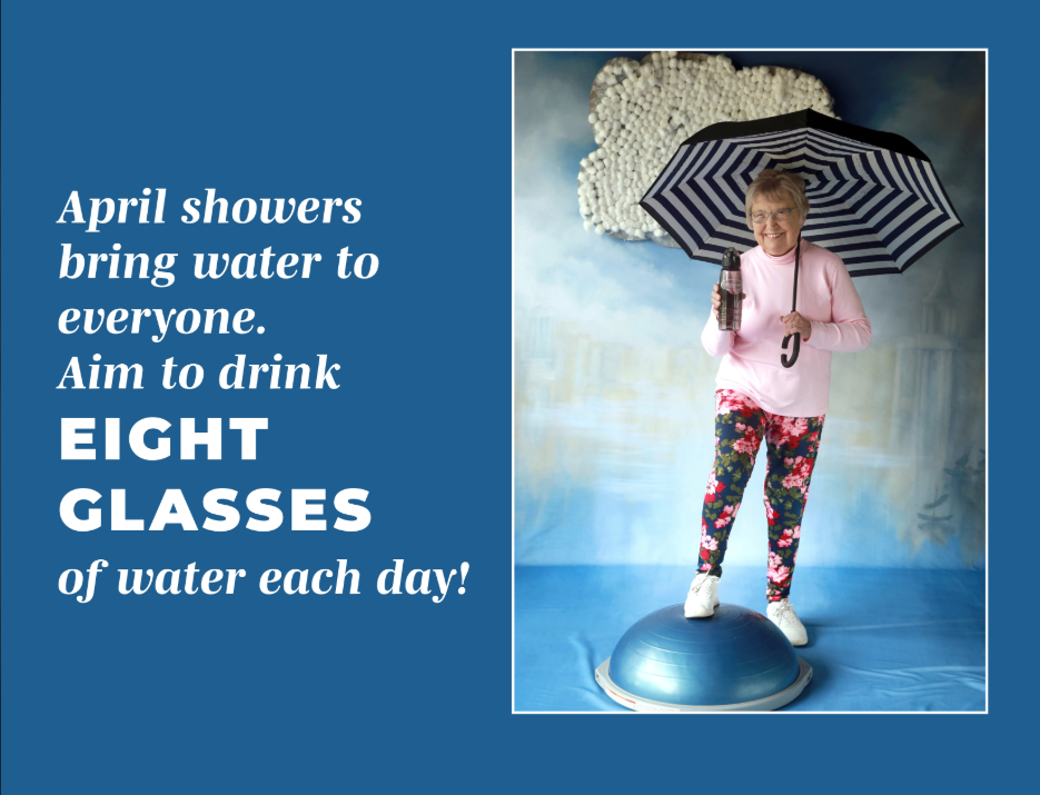 """<span class=""""s1"""">""""Miss April"""" on the 2019 Touchmark Retirement Home calendar touts the benefits of drinking water. (Photo: Courtesy of Touchmark Retirement Home)</span>"""
