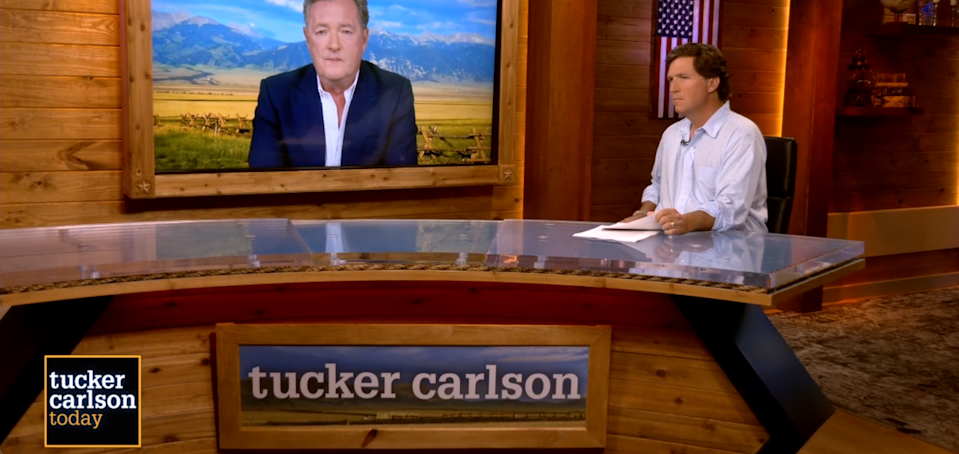 Piers Morgan was interviewed by Tucker Carlson on his Fox Nation show on April 5, 2021.