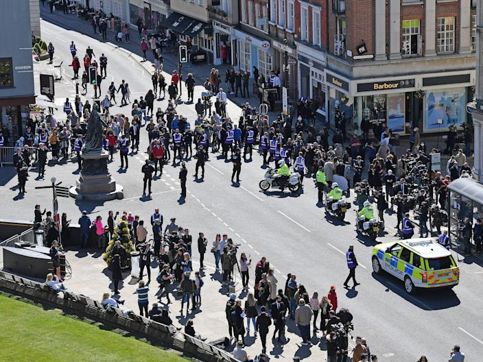 crowd gathering prince philip funeral