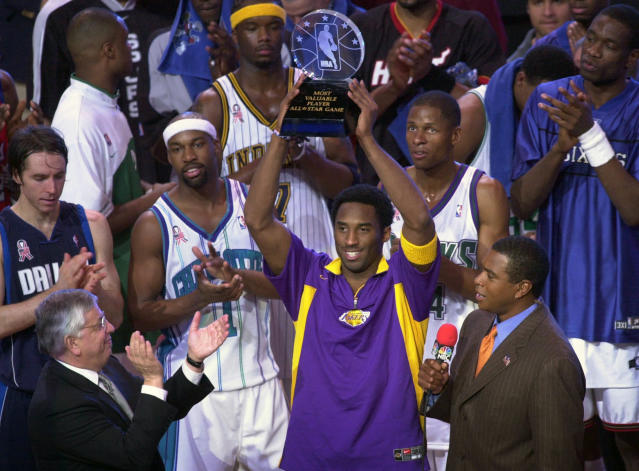 FILE - In this Sunday, Feb. 10, 2002, file photo, Western Conference All-Star Kobe Bryant, of the Los Angeles Lakers, holds up his MVP trophy following the 2002 NBA All-Star basketball game in Philadelphia. Bryant was killed in a helicopter crash on Sunday, Jan. 26, 2020. (AP Photo/Dan Loh, File)