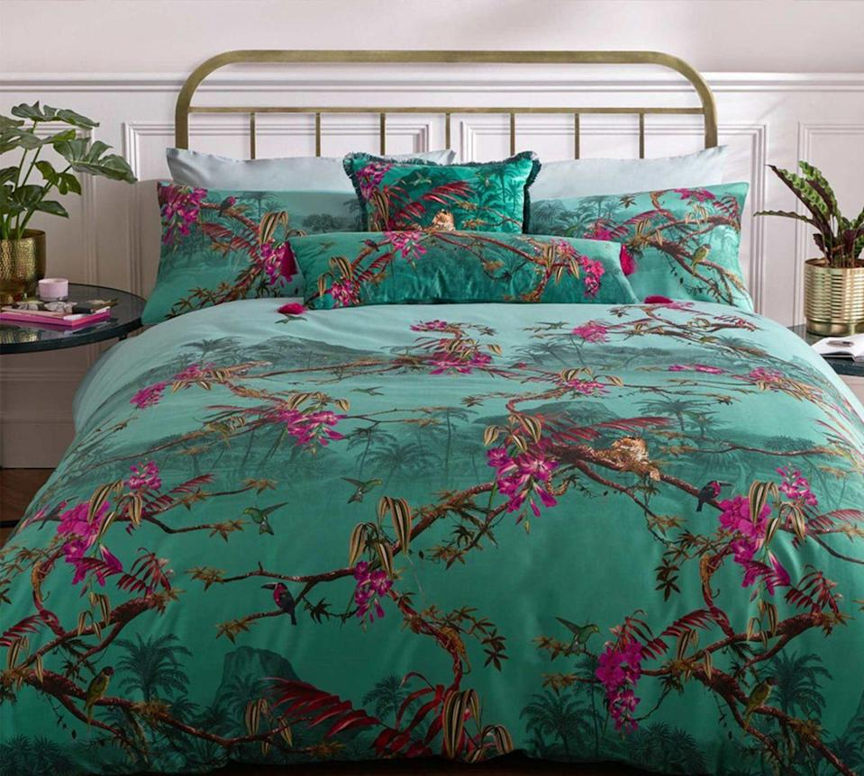 """<p>One of the quickest and most cost-effective ways to refresh your bedroom with minimum effort, is by choosing new bedding. </p><p>No tools or DIY skills necessary, a fresh duvet set can make all the difference and a bold print like this Ted Baker set creates a real focal point in the room. An easy bedroom overhaul in the time it takes you to change the sheets.</p><p><strong>Hibiscus Bedding and Pillowcase By Ted Baker in Jade Green. Pillow cases and cushions <a href=""""https://go.redirectingat.com?id=127X1599956&url=https%3A%2F%2Fwww.therugseller.co.uk%2Fhibiscus-bedding-and-pillowcase-by-ted-baker-in-jade-green%2Fp-1073-51848-74467-1&sref=https%3A%2F%2Fwww.goodhousekeeping.com%2Fuk%2Fhouse-and-home%2Fhome-decorating-ideas%2Fg36449164%2Fgreen-bedroom-ideas%2F"""" rel=""""nofollow noopener"""" target=""""_blank"""" data-ylk=""""slk:from £35"""" class=""""link rapid-noclick-resp"""">from £35</a>. <a href=""""https://go.redirectingat.com?id=127X1599956&url=https%3A%2F%2Fwww.therugseller.co.uk%2Fhibiscus-bedding-and-pillowcase-by-ted-baker-in-jade-green%2Fp-1073-51848-74467-1&sref=https%3A%2F%2Fwww.goodhousekeeping.com%2Fuk%2Fhouse-and-home%2Fhome-decorating-ideas%2Fg36449164%2Fgreen-bedroom-ideas%2F"""" rel=""""nofollow noopener"""" target=""""_blank"""" data-ylk=""""slk:Duvet sets from £90."""" class=""""link rapid-noclick-resp"""">Duvet sets from £90.</a></strong><br></p>"""
