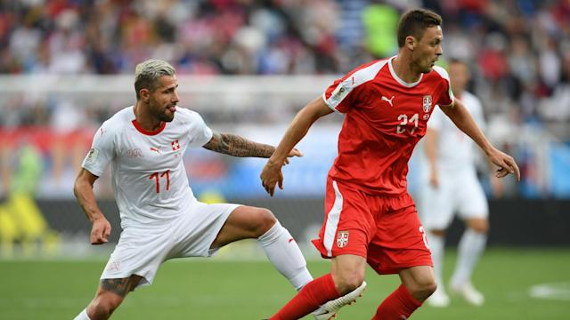 Aleksandar Mitrovic was denied what looked a clear penalty in Serbia's defeat to Switzerland, much to the frustration of Nemanja Matic.