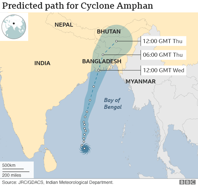 Predicted path of Cyclone Amphan