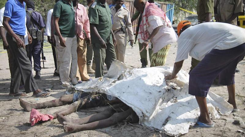 A suicide car bomber has killed at least 16 people and injured nine others in Somalia.