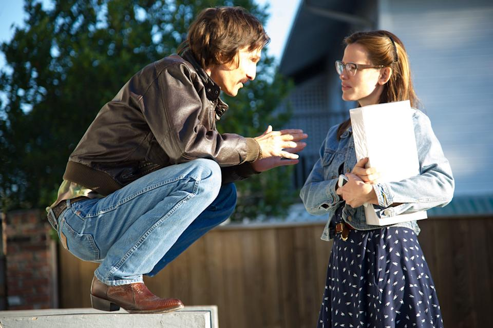 """Matthew McConaughey as Ron Woodroof and Jennifer Garner as Dr. Eve Saks in a scene from """"Dallas Buyers Club."""""""