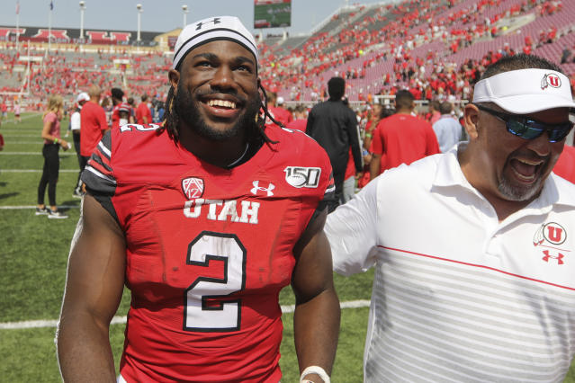 Utah running back Zack Moss (2) smiles as he leaves the field following their NCAA college football game against Northern Illinois Saturday, Sept. 9, 2019, Salt Lake City. (AP Photo/Rick Bowmer)