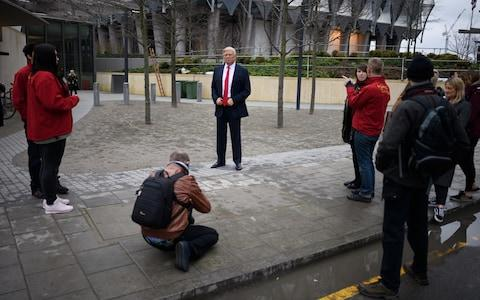Madame Tussaud's waxwork outside the new US embassy - Credit: Getty