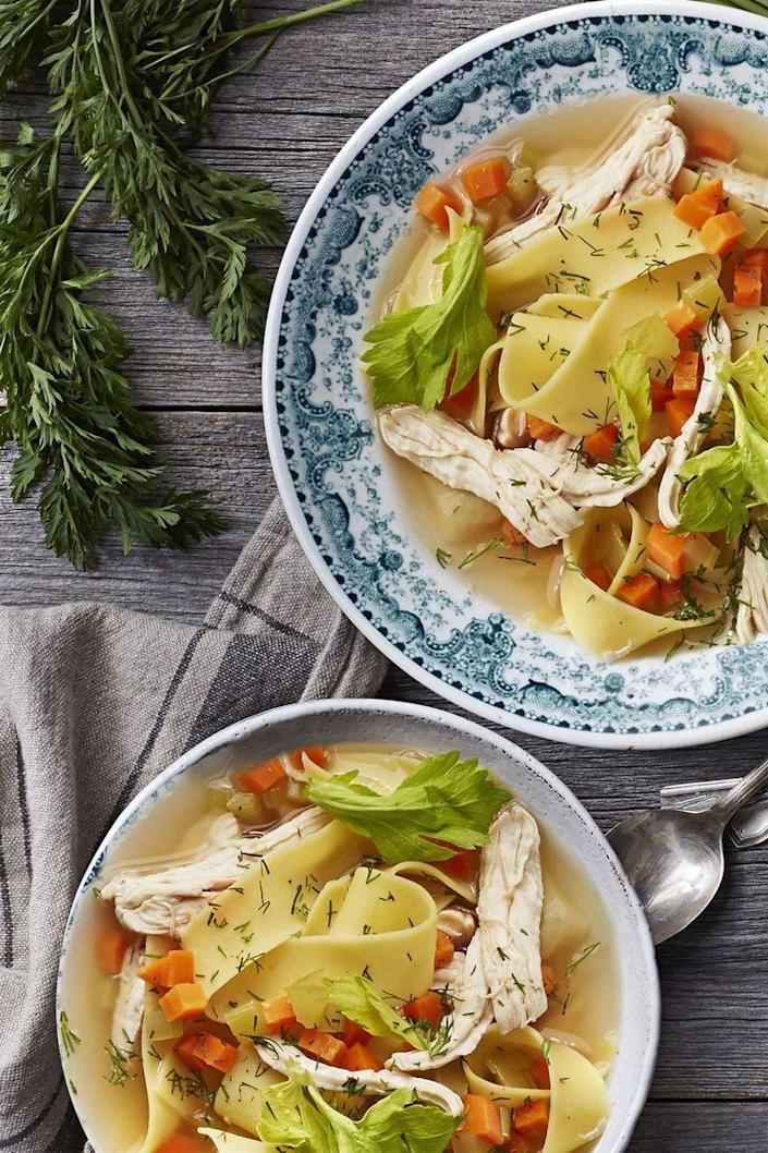 """<p>The high setting on your Instant Pot can hack the arduous process of stewing a homemade soup — without sacrificing any of the flavor. You'll love this rustic take on a healthy dinner classic.</p><p><a href=""""https://www.goodhousekeeping.com/food-recipes/easy/a25656996/instant-pot-chicken-soup-recipe/"""" rel=""""nofollow noopener"""" target=""""_blank"""" data-ylk=""""slk:Get the recipe for Instant Pot Chicken Soup »"""" class=""""link rapid-noclick-resp""""><em>Get the recipe for Instant Pot Chicken Soup »</em></a></p><p><strong>RELATED</strong>: <a href=""""https://www.goodhousekeeping.com/food-recipes/easy/g5179/instant-pot-recipes/"""" rel=""""nofollow noopener"""" target=""""_blank"""" data-ylk=""""slk:22 Best Instant Pot Recipes for Easy Weeknight Dinners"""" class=""""link rapid-noclick-resp"""">22 Best Instant Pot Recipes for Easy Weeknight Dinners</a></p>"""