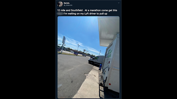 Derick Lancaster posted to Twitter that he'd abandoned his Amazon delivery van at a gas station in Michigan.