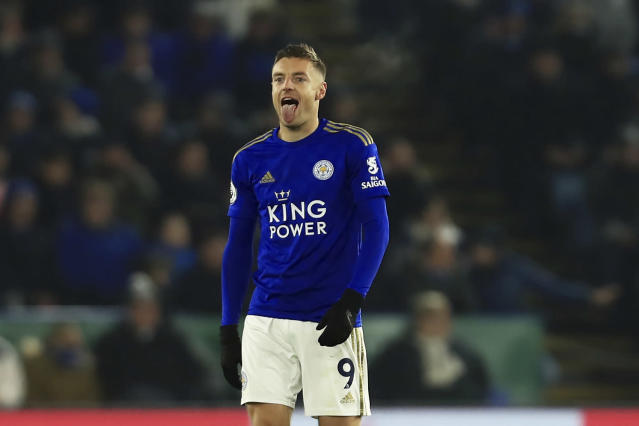 Leicester's Jamie Vardy celebrates scoring from his side's penalty against Watford during the English Premier League soccer match between Leicester City and Watford at the King Power Stadium in Leicester, England, Wednesday, Dec. 4, 2019. (AP Photo/Leila Coker)