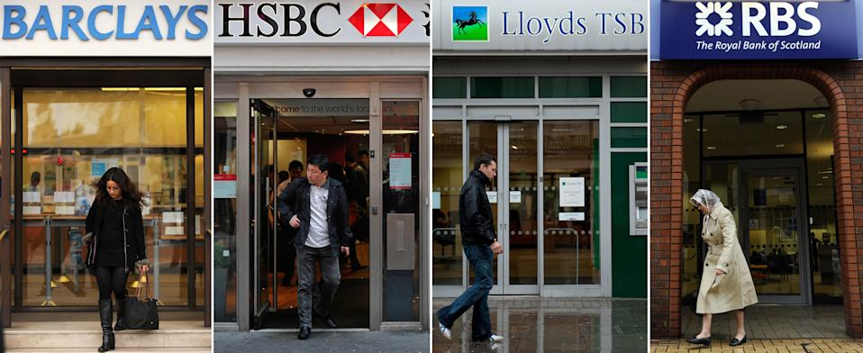 """(FILES) A combination of file pictures shows the high street branches of four British banks; Barclays, HSBC, Lloyds Banking Group and Royal Bank of Scotland. Britain's banks should implement major reforms aimed at avoiding further state bailouts of lenders by 2019, a government-appointed commission recommended in a final report on Monday September 12, 2011. The Independent Commission on Banking confirmed its initial proposals published in April that called for a """"ring-fencing"""" of lenders' retail businesses, thus avoiding banks being sunk by investment division losses. AFP PHOTO/STAFF (Photo credit should read STAFF/AFP via Getty Images)"""