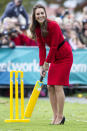 Kate took on William during a cricket match, while wearing heels, on the same New Zealand tour. [Photo: Getty]