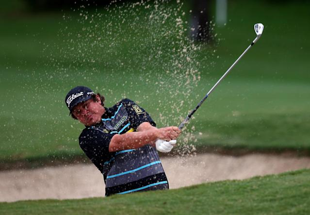 IRVING, TX - MAY 16: Jason Dufner hit out of a sand trap during the first round of the 2013 HP Byron Nelson Championship at the TPC Four Seasons Resort on May 16, 2013 in Irving, Texas. (Photo by Tom Pennington/Getty Images)
