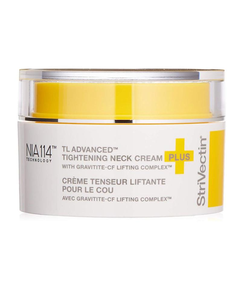 """<p>Because the skin on your neck heavily differs from the skin on your face (thanks to less fatty tissue and fewer oil glands), you'll tend to see signs of aging in your neck first, including a crepey skin texture. What's great about this neck cream is that it's specifically designed to target horizontal neck lines on the crepey areas of your neck—its special patented NIA-114 formula is made with niacin and vitamin B3, which help maintain strong, healthy-looking skin.</p> <p><strong>To buy: </strong>$81; <a href=""""https://www.amazon.com/StriVectin-TL-Tightening-Neck-Cream-1-7/dp/B00MTR5ATS/ref=as_li_ss_tl?th=1&linkCode=ll1&tag=rsbeubestneckcreamsmalcedo-20&linkId=d185518c9de609de7534d09904bbd17d&language=en_US"""">amazon.com</a>.</p>"""
