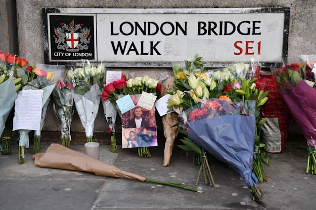 Floral tributes were left close to London Bridge after the attack (AFP/Getty)